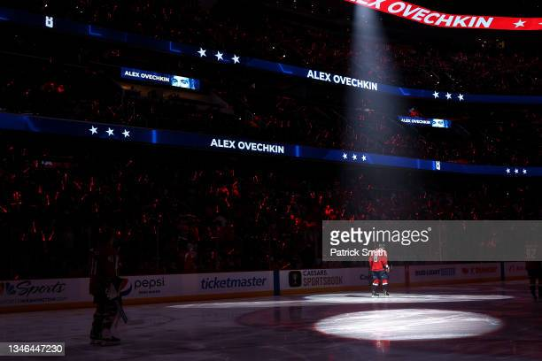 Alex Ovechkin of the Washington Capitals is introduced before playing at Capital One Arena on October 13, 2021 in Washington, DC.