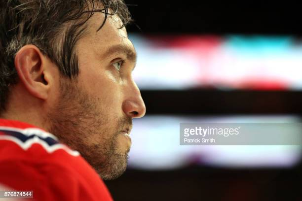 Alex Ovechkin of the Washington Capitals looks on against the Calgary Flames during the third period at Capital One Arena on November 20 2017 in...