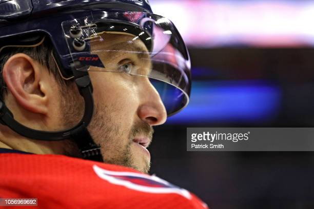 Alex Ovechkin of the Washington Capitals looks on against the Florida Panthers during the first period at Capital One Arena on October 19 2018 in...
