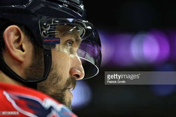 Alex Ovechkin of the Washington Capitals looks on against the Florida Panthers during the first period at Verizon Center on November 5 2016 in...