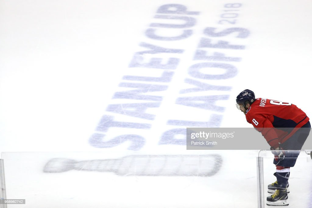Alex Ovechkin #8 of the Washington Capitals looks on against the Tampa Bay Lightning during the third period in Game Three of the Eastern Conference Finals during the 2018 NHL Stanley Cup Playoffs at Capital One Arena on May 15, 2018 in Washington, DC.