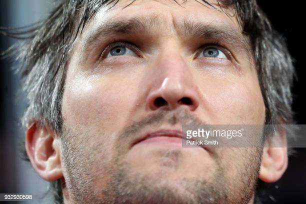 Alex Ovechkin of the Washington Capitals looks on as he honored for scoring 600 goals before playing against the New York Islanders at Capital One...
