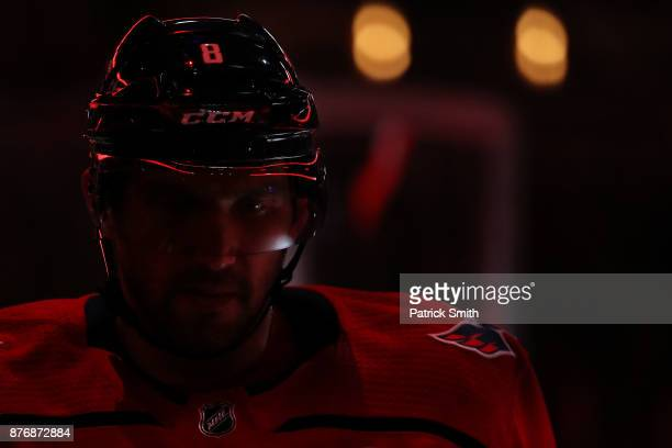 Alex Ovechkin of the Washington Capitals looks on before playing against the Calgary Flames during the third period at Capital One Arena on November...