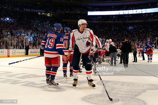 Alex Ovechkin of the Washington Capitals looks on dejected after he congratulated Brad Richards of the New York Rangers on the Rangers 2-1 win in...