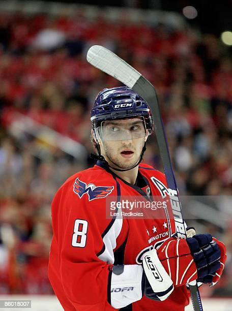 Alex Ovechkin of the Washington Capitals looks on during a stoppage of play against the New York Rangers during Game One of the Eastern Conference...