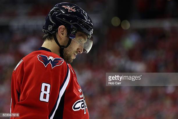 Alex Ovechkin of the Washington Capitals looks on in the second period against the Philadelphia Flyers in Game Five of the Eastern Conference...