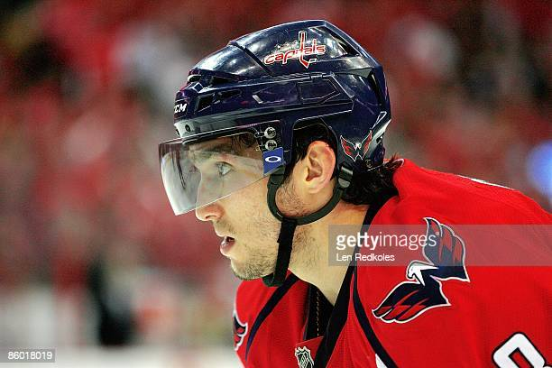 Alex Ovechkin of the Washington Capitals looks on prior to a face off against the New York Rangers during Game One of the Eastern Conference...