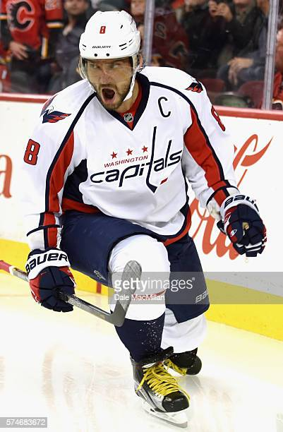 Alex Ovechkin of the Washington Capitals plays in the game against the Calgary Flames at Scotiabank Saddledome on October 20 2015 in Calgary Alberta...