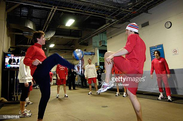 Alex Ovechkin of the Washington Capitals plays soccer in the hallway prior to his game against of the Pittsburgh Penguins during the 2011 NHL...