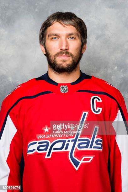 Alex Ovechkin of the Washington Capitals poses for his official headshot for the 20172018 season on September 14 2017 at Kettler Capitals Iceplex in...
