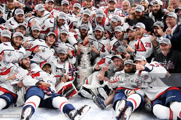 Alex Ovechkin of the Washington Capitals poses with his teammates for the team photo after their 43 win over the Vegas Golden Knights to win the...