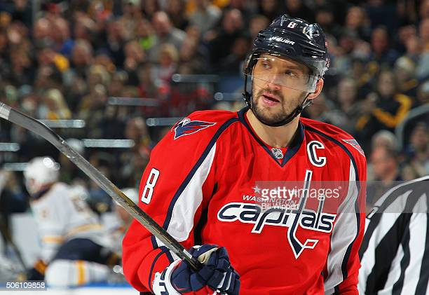Alex Ovechkin of the Washington Capitals prepares for a faceoff against the Buffalo Sabres during an NHL game on January 16, 2016 at the First...