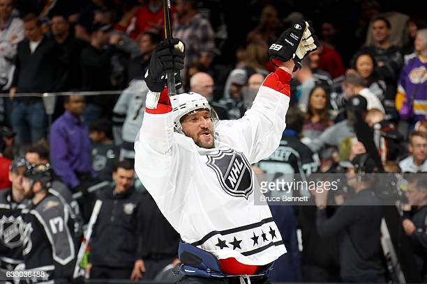 Alex Ovechkin of the Washington Capitals reacts after defeating the Pacific Division AllStars 43 in the 2017 Honda NHL AllStar Tournament Final...