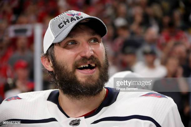 Alex Ovechkin of the Washington Capitals reacts after his team defeated the Vegas Golden Knights 43 in Game Five of the 2018 NHL Stanley Cup Final at...