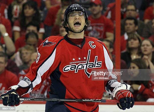 Alex Ovechkin of the Washington Capitals reacts after missing a scoring chance in the third period against the Montreal Canadiens in Game Five of the...