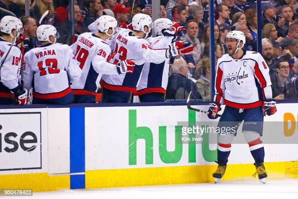 Alex Ovechkin of the Washington Capitals reacts after scoring a power play goal during the second period in Game Six of the Eastern Conference First...