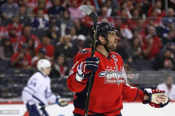 Alex Ovechkin of the Washington Capitals reacts to a call against the Toronto Maple Leafs in the second period in Game One of the Eastern Conference...