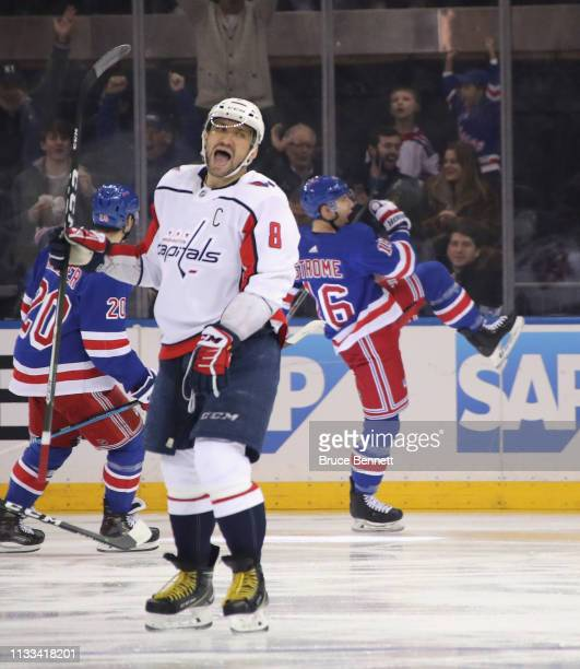 Alex Ovechkin of the Washington Capitals reacts to a first period goal by Ryan Strome of the New York Rangers at Madison Square Garden on March 03,...