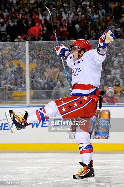 Alex Ovechkin of the Washington Capitals reacts to a shot on goal during the third period of the 2011 NHL Bridgestone Winter Classic at Heinz Field...