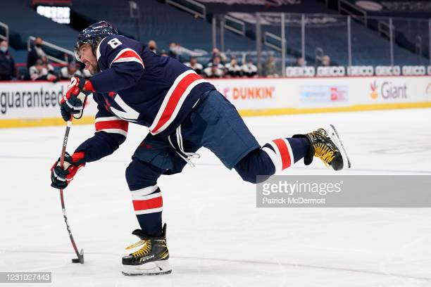 Alex Ovechkin of the Washington Capitals scores a goal against the Philadelphia Flyers in the first period at Capital One Arena on February 07, 2021...
