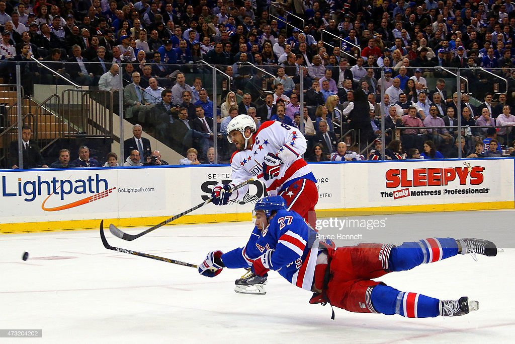 Alex Ovechkin #8 of the Washington Capitals scores a goal in the first period past Ryan McDonagh #27 of the New York Rangers in Game Seven of the Eastern Conference Semifinals during the 2015 NHL Stanley Cup Playoffs at Madison Square Garden on May 13, 2015 in New York City.