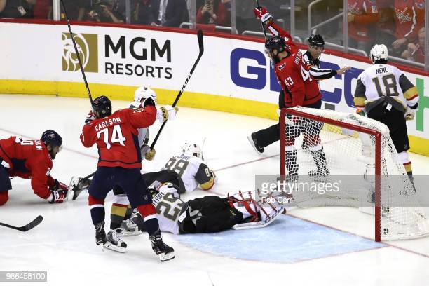Alex Ovechkin of the Washington Capitals scores a goal on MarcAndre Fleury of the Vegas Golden Knights during the second period in Game Three of the...