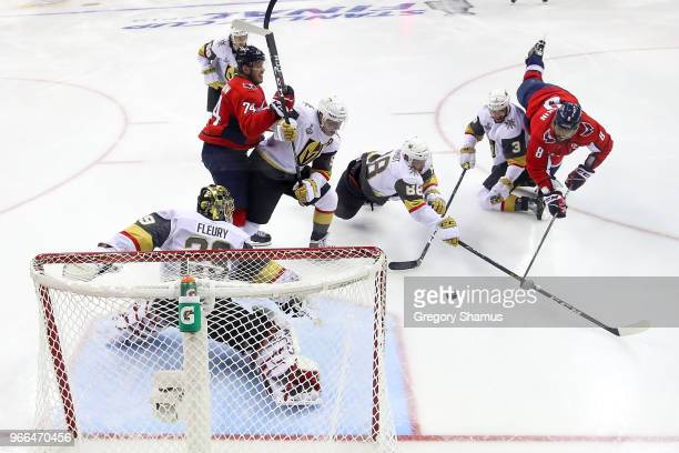 Alex Ovechkin of the Washington Capitals scores a goal on MarcAndre Fleury of the Vegas Golden Knights in the second period in Game Three of the 2018...