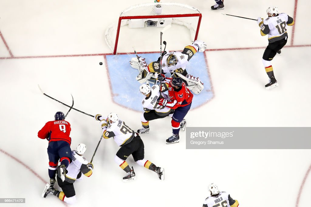 Alex Ovechkin #8 of the Washington Capitals scores a goal on Marc-Andre Fleury #29 of the Vegas Golden Knights in the second period in Game Three of the 2018 NHL Stanley Cup Final at Capital One Arena on June 2, 2018 in Washington, DC.