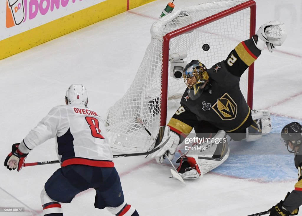 Alex Ovechkin #8 of the Washington Capitals scores a second-period goal against Marc-Andre Fleury #29 of the Vegas Golden Knights in Game Two of the 2018 NHL Stanley Cup Final at T-Mobile Arena on May 30, 2018 in Las Vegas, Nevada. The Capitals defeated the Golden Knights 3-2.