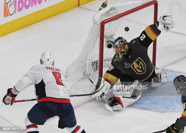 Alex Ovechkin of the Washington Capitals scores a secondperiod goal against MarcAndre Fleury of the Vegas Golden Knights in Game Two of the 2018 NHL...