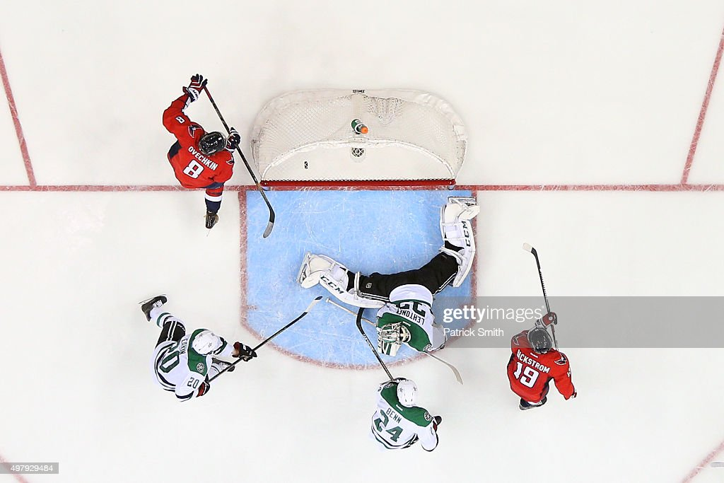 Alex Ovechkin #8 of the Washington Capitals scores a third period goal on goalie Kari Lehtonen #32 of the Dallas Stars at Verizon Center on November 19, 2015 in Washington, DC. With the goal, Ovechkin became the leader in career goals by a Russian-born player with his 484th career goal.