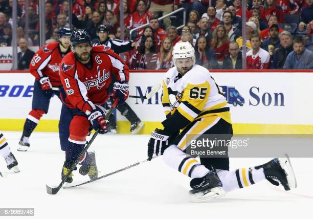 Alex Ovechkin of the Washington Capitals scores a third period goal against the Pittsburgh Penguins in Game Five of the Eastern Conference Second...