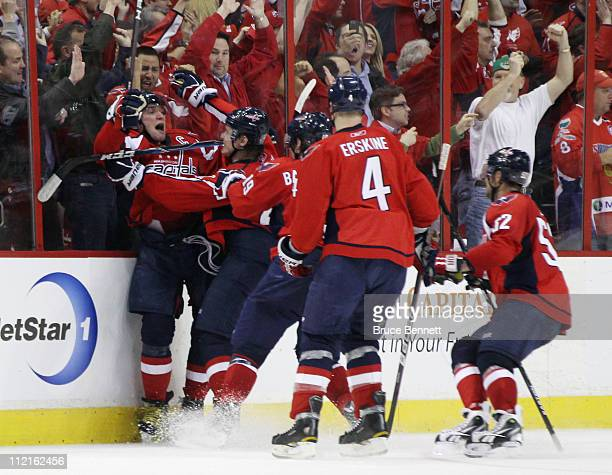 Alex Ovechkin of the Washington Capitals scores the game tying goal in the third period against the New York Rangers in Game One of the Eastern...