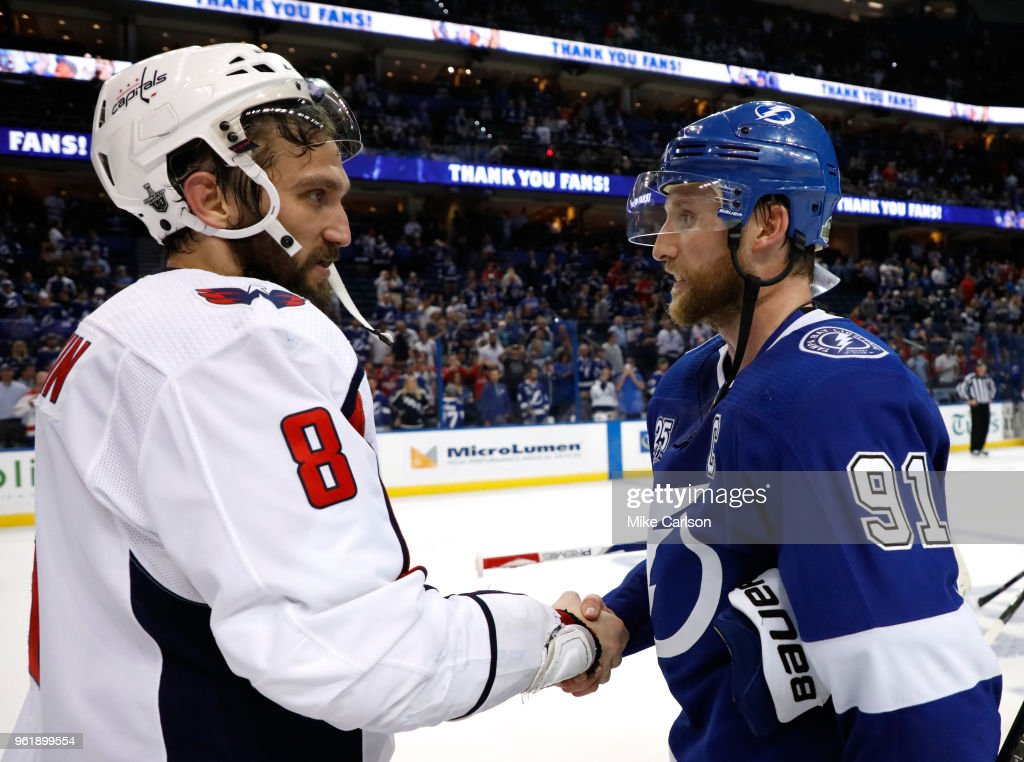 Alex Ovechkin #8 of the Washington Capitals shakes hands with Steven Stamkos #91 of the Tampa Bay Lightning after Game Seven of the Eastern Conference Finals during the 2018 NHL Stanley Cup Playoffs at Amalie Arena on May 23, 2018 in Tampa, Florida. The Washington Capitals defeated the Tampa Bay Lightning with a score of 4 to 0.