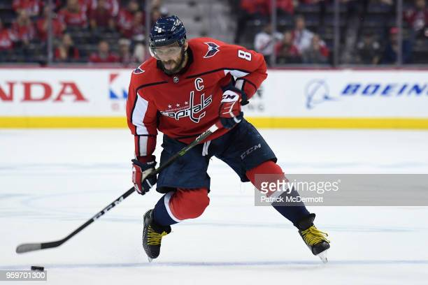 Alex Ovechkin of the Washington Capitals shoots the puck in the third period against the Tampa Bay Lightning in Game Three of the Eastern Conference...