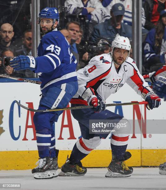 Alex Ovechkin of the Washington Capitals skates against Nazem Kadri of the Toronto Maple Leafs in Game Six of the Eastern Conference Quarterfinals...
