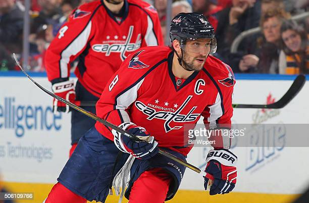 Alex Ovechkin of the Washington Capitals skates against the Buffalo Sabres during an NHL game on January 16, 2016 at the First Niagara Center in...