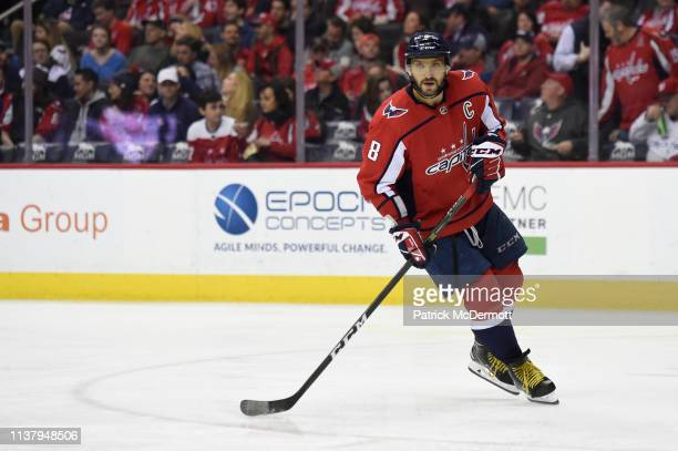 Alex Ovechkin of the Washington Capitals skates against the Minnesota Wild in the second period at Capital One Arena on March 22 2019 in Washington DC