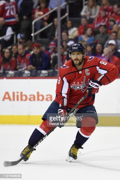 Alex Ovechkin of the Washington Capitals skates against the Minnesota Wild in the first period at Capital One Arena on March 22 2019 in Washington DC