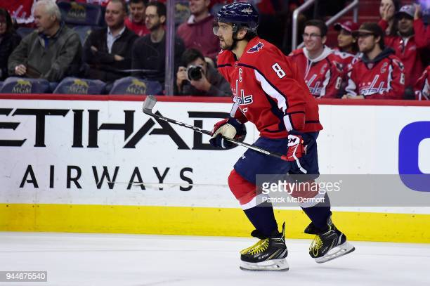 Alex Ovechkin of the Washington Capitals skates against the New Jersey Devils in the first period at Capital One Arena on April 7 2018 in Washington...