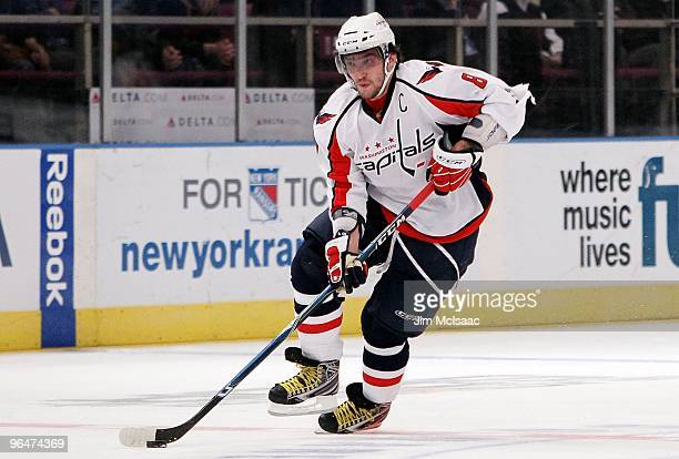 Alex Ovechkin of the Washington Capitals skates against the New York Rangers on February 4 2010 at Madison Square Garden in New York City The...