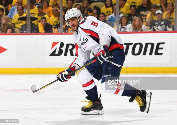 Alex Ovechkin of the Washington Capitals skates against the Pittsburgh Penguins in Game Three of the Eastern Conference Second Round during the 2017...