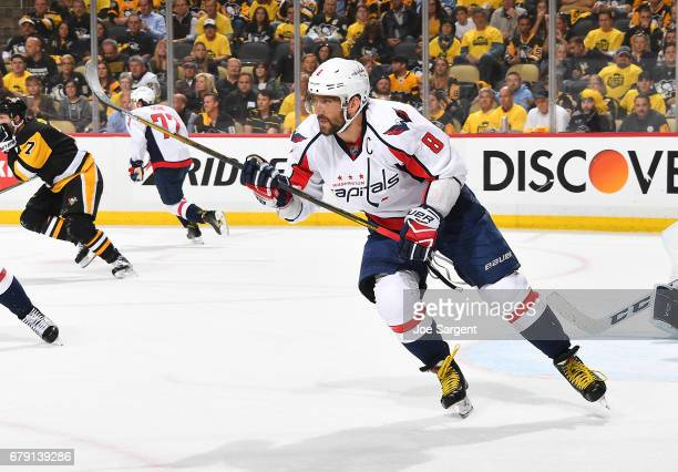Alex Ovechkin of the Washington Capitals skates against the Pittsburgh Penguins in Game Four of the Eastern Conference Second Round during the 2017...