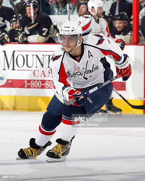 Alex Ovechkin of the Washington Capitals skates against the Pittsburgh Penguins during Game Three of the Eastern Conference Semifinals of the 2009...