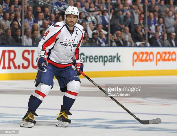 Alex Ovechkin of the Washington Capitals skates against the Toronto Maple Leafs in Game Three of the Eastern Conference Quarterfinals during the 2017...