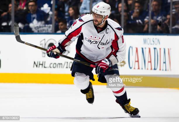 Alex Ovechkin of the Washington Capitals skates against the Toronto Maple Leafs during the second period in Game Four of the Eastern Conference First...