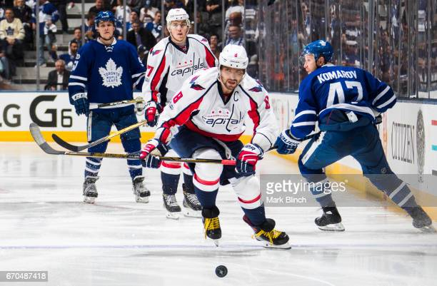 Alex Ovechkin of the Washington Capitals skates against the Toronto Maple Leafs during the third period in Game Three of the Eastern Conference First...
