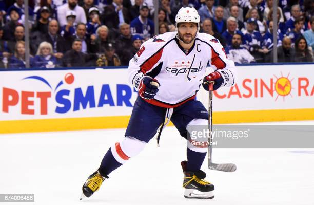 Alex Ovechkin of the Washington Capitals skates against the Toronto Maple Leafs during the first period in Game Six of the Eastern Conference First...