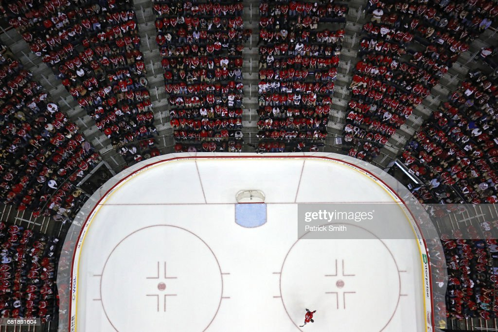 Alex Ovechkin #8 of the Washington Capitals skates alone on the ice during a stop in play during the first period against the Pittsburgh Penguins in Game Seven of the Eastern Conference Second Round during the 2017 NHL Stanley Cup Playoffs at Verizon Center on May 10, 2017 in Washington, DC.
