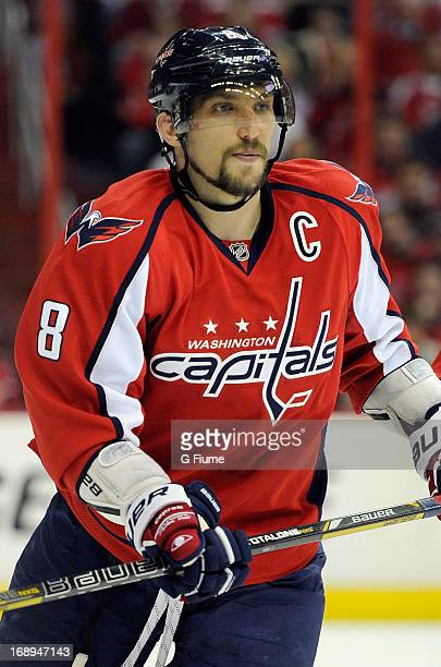 Alex Ovechkin of the Washington Capitals skates down the ice against the New York Rangers in Game Seven of the Eastern Conference Quarterfinals...